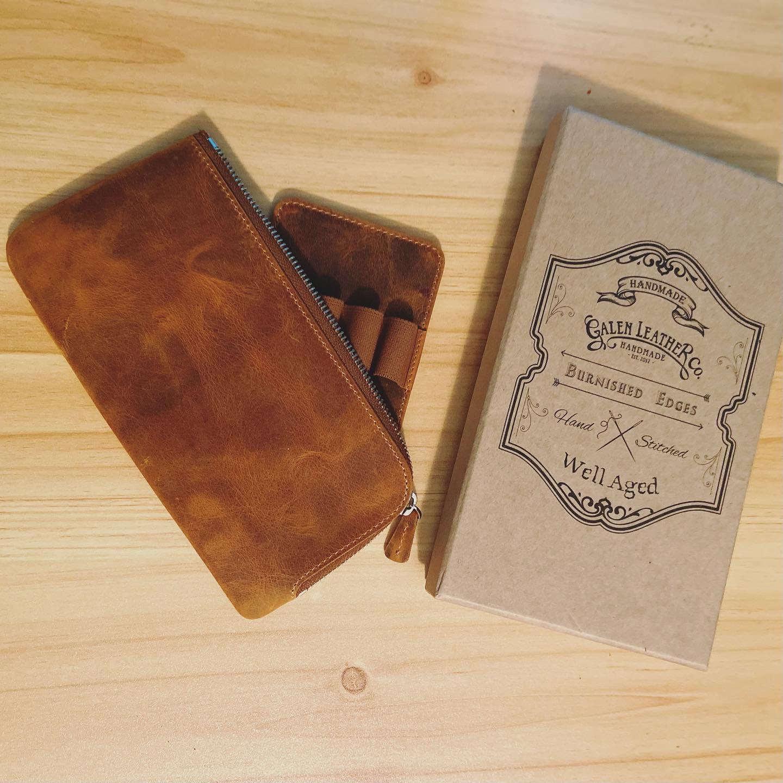 brown leather slip-n-zip pen case