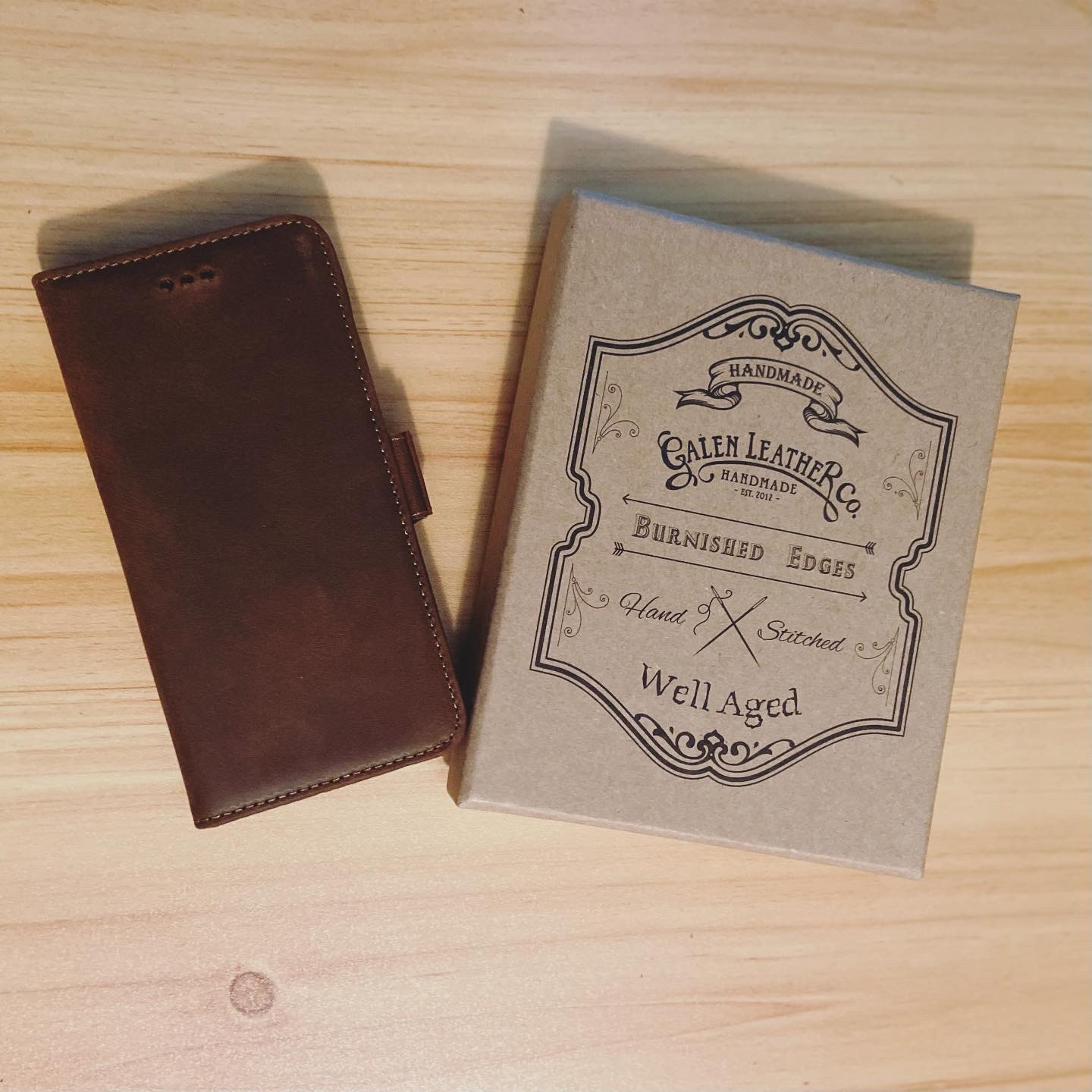 Galen leather brown leather detachable iPhone wallet case with the packaging box on the side