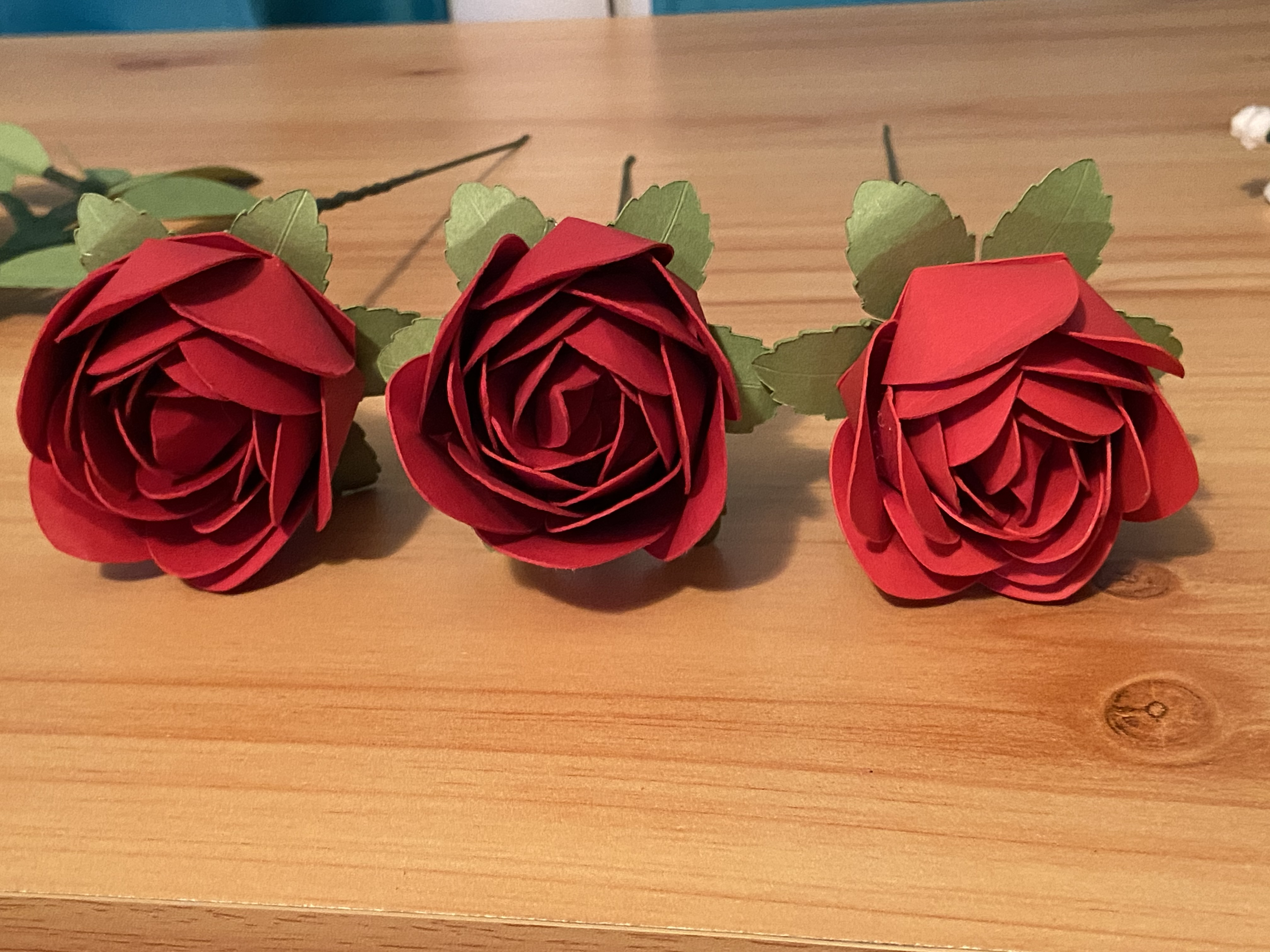 scented red paper roses